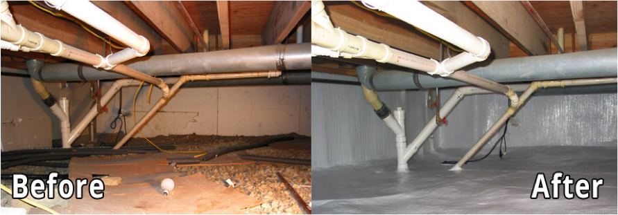 Before and After photos of crawl space encapsulation